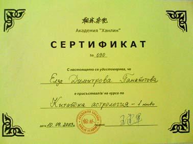 сертификат китайска астрология